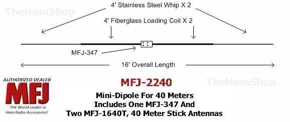 20 Meter Mini-Dipole Includes MFJ-347 /& 2 MFJ-1620T Hamstick Antennas MFJ-2220