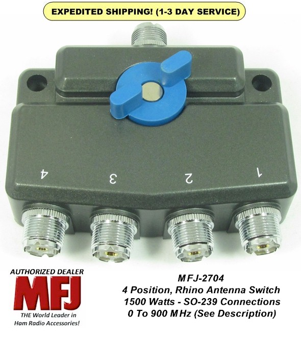 Details about MFJ-2704, 4 Position Antenna Switch, DC- 900 MHz, 1 5 KW Gold  Plated Contacts