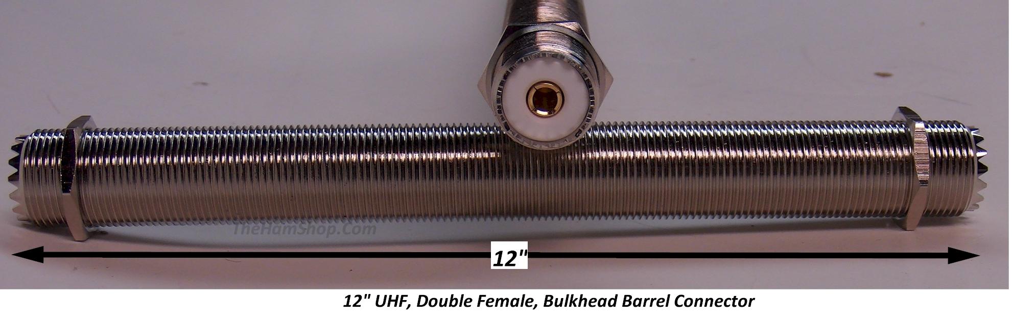 """5 UHF DOUBLE FEMALE BULKHEAD BARREL CONNECTORS 1.75/"""" LONG FOR PL-259 CONNECTORS"""