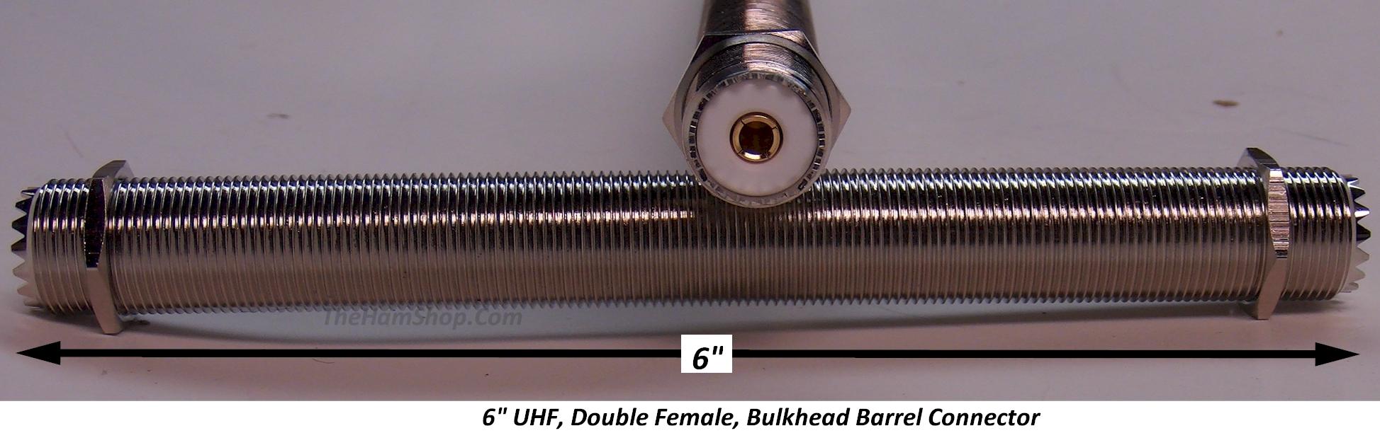 Uhf double so female bulkhead barrel connector quot long